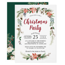 Poinsettia Holly Berries Floral Christmas Party Invitation