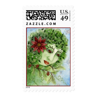 Poinsettia Holly Nymph Postage Stamp