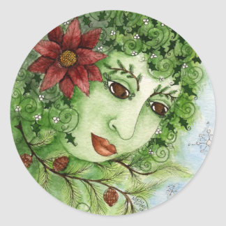 Poinsettia Holly Nymph Sticker