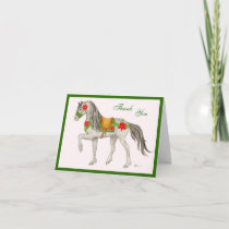 Poinsettia Horse thank you card