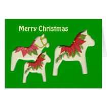 Poinsettia  Horses Christmas Card