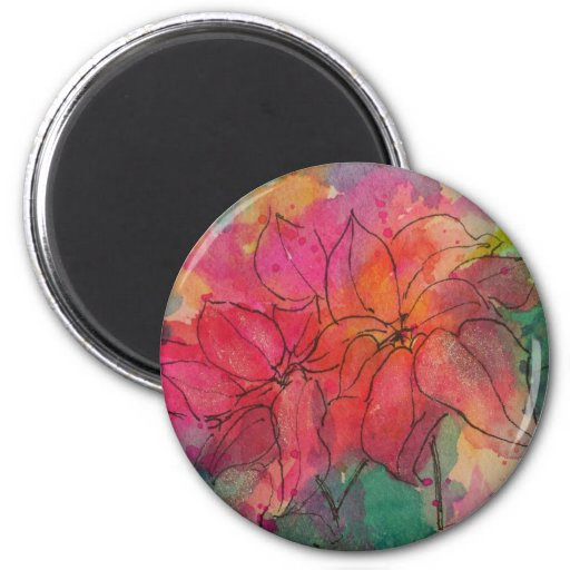 Poinsettia Image 2 Inch Round Magnet