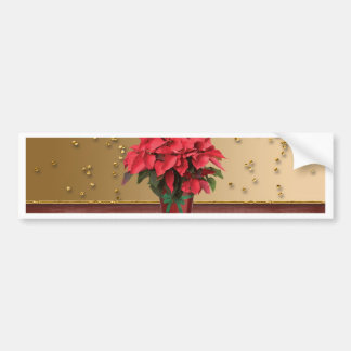 Poinsettia in Flower Pot with Sprinkles Bumper Sticker