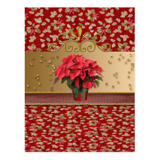 Poinsettia in Flower Pot with Sprinkles Postcard