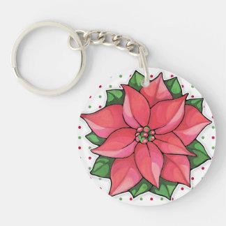 Poinsettia Joy dots Acrylic Keychain