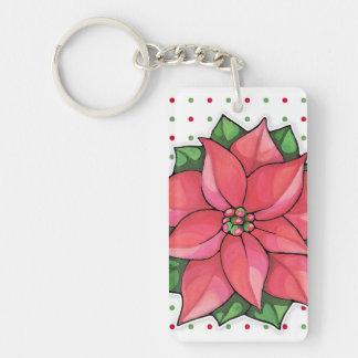 Poinsettia Joy dots Acrylic Rectangle Keychain Rectangular Acrylic Key Chain