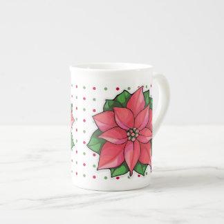 Poinsettia Joy dots Bone China Mug