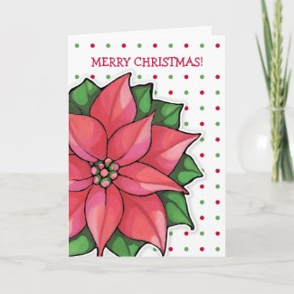 Poinsettia Joy dots Christmas Card