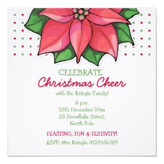 Poinsettia Joy dots Christmas Invitation