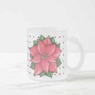 Poinsettia Joy dots Frosted Mug