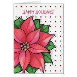 Poinsettia Joy dots Holiday Card