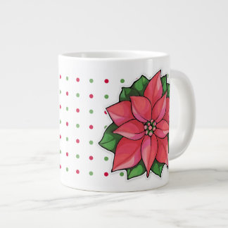 Poinsettia Joy dots Jumbo Mug