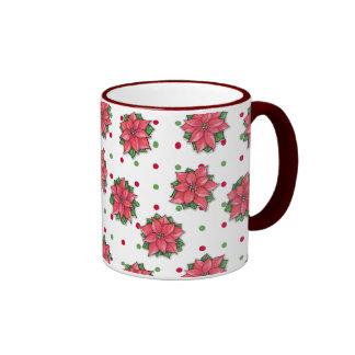 Poinsettia Joy dots pattern Mug