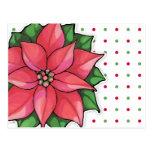 Poinsettia Joy dots Postcard