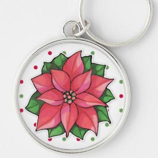 Poinsettia Joy dots Premium Keychain