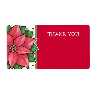 Poinsettia Joy dots Thank You Sticker Shipping Label