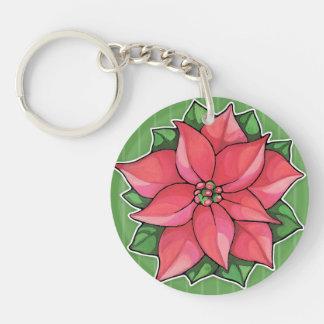 Poinsettia Joy green Acrylic Keychain