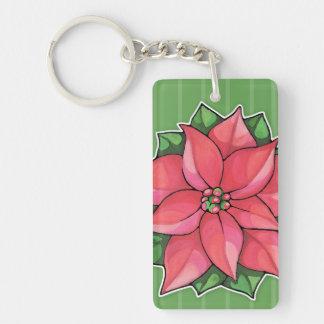 Poinsettia Joy green Acrylic Rectangle Keychain Acrylic Keychain