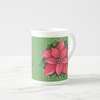 Poinsettia Joy green Bone China Mug
