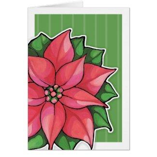 Poinsettia Joy green border Card