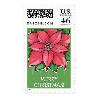 Poinsettia Joy green Christmas Stamp