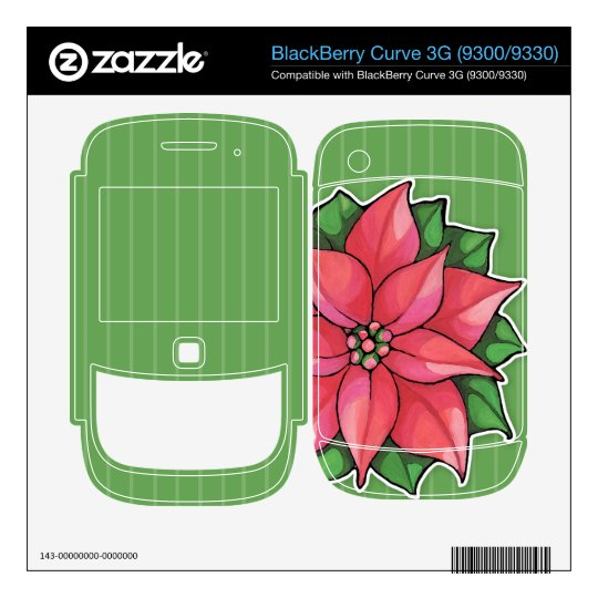 Poinsettia Joy green Curve 3G (9300/9330) Skin Decals For The BlackBerry