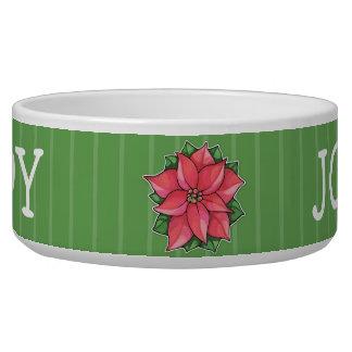 Poinsettia Joy green Dog Pet Bowl