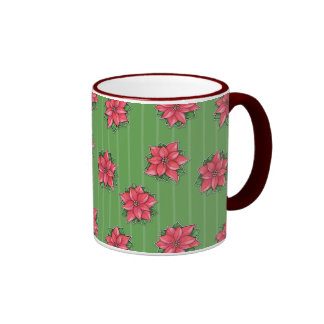 Poinsettia Joy green pattern Mug