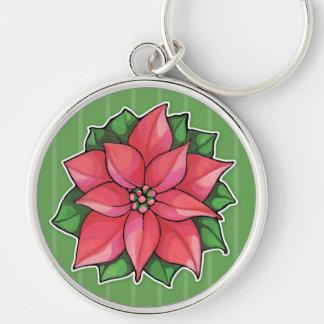 Poinsettia Joy green Premium Keychain