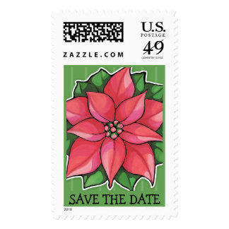 Poinsettia Joy green Save the Date Stamp