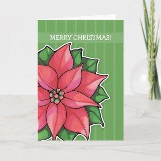 Poinsettia Joy green stripes Christmas Card