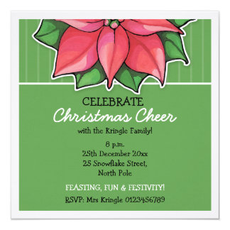 Poinsettia Joy green Stripes Christmas Invitation