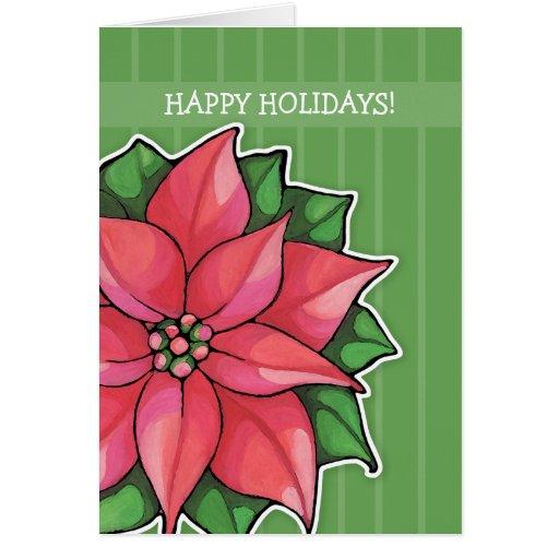 Poinsettia Joy green stripes Holiday Card