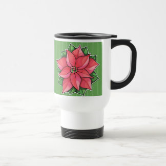 Poinsettia Joy green Travel Mug