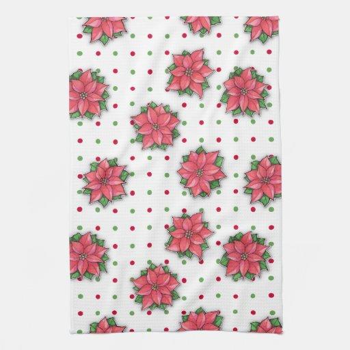 Poinsettia Joy pattern dots Kitchen Towel