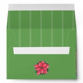 Poinsettia Joy red A7 Card Envelope