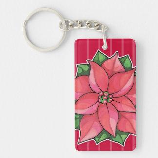 Poinsettia Joy red Acrylic Rectangle Keychain Acrylic Keychains