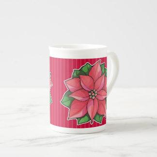 Poinsettia Joy red Bone China Mug