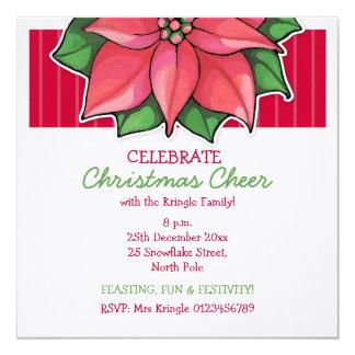 Poinsettia Joy red Christmas Invitation