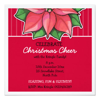 Poinsettia Joy red Stripes Christmas Invitation