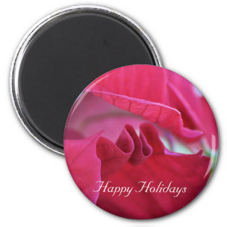 Poinsettia Leaves Happy Holidays Fridge Magnet