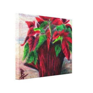 Poinsettia Lienzo Envuelto Para Galerias