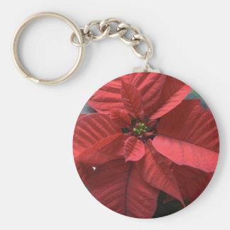 Poinsettia Llavero Redondo Tipo Pin