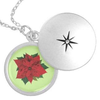 Poinsettia Locket Necklace