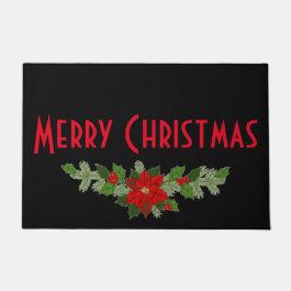 Poinsettia Merry Christmas Doormat