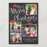 "Poinsettia Merry Christmas Photo Card<br><div class=""desc"">Inspired by chalk drawings,  this whimsical design features a fun layout for multiple photos,  dressed up with a pretty script.</div>"