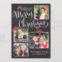 Poinsettia Merry Christmas Photo Card