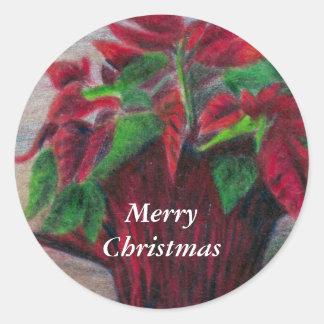 Poinsettia Merry Christmas Sticker