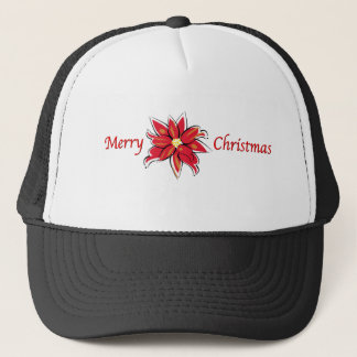 Poinsettia Merry Christmas Trucker Hat