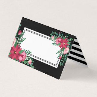Poinsettia & Mistletoe | Winter Wedding | Names Place Card